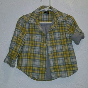 GAP 👶 Flannel 3/4 Button-Up Sleeves